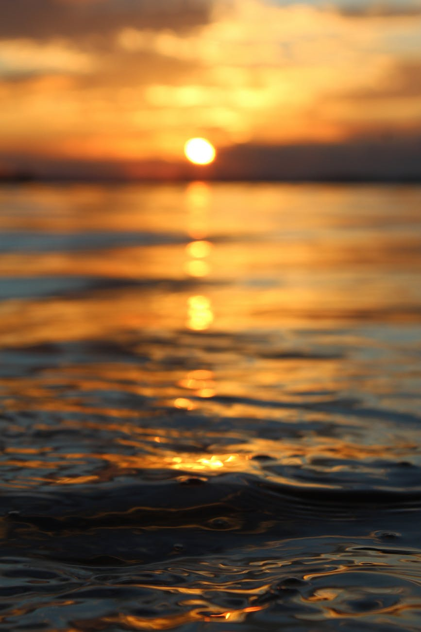 close up photo of sea water during sunset